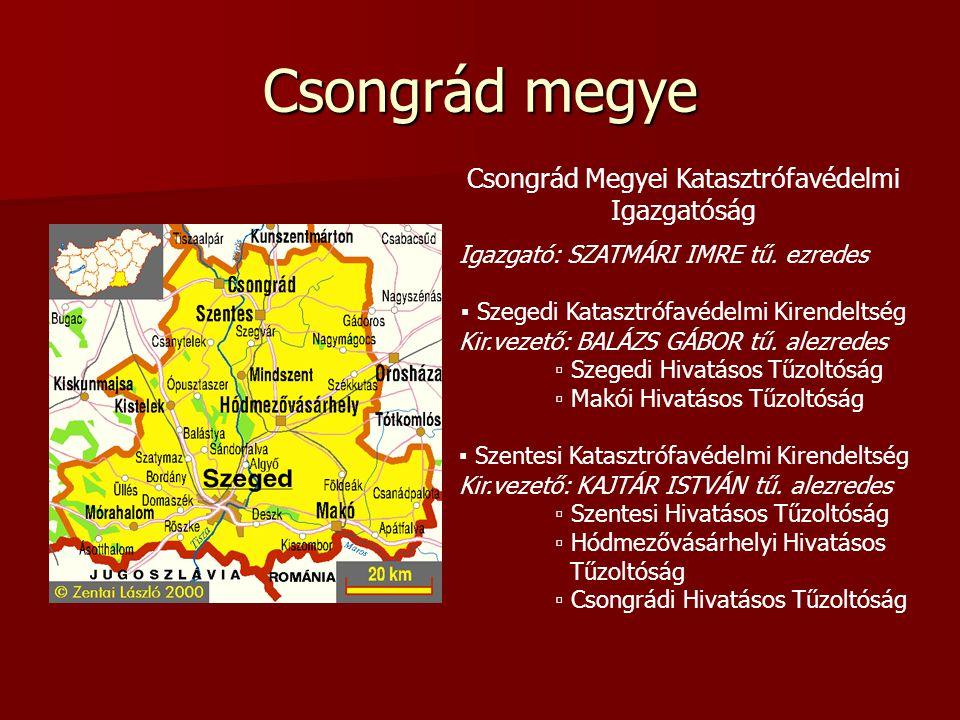 Csongrád megye Csongrád Megyei Katasztrófavédelmi Igazgatóság Igazgató: SZATMÁRI IMRE tű.