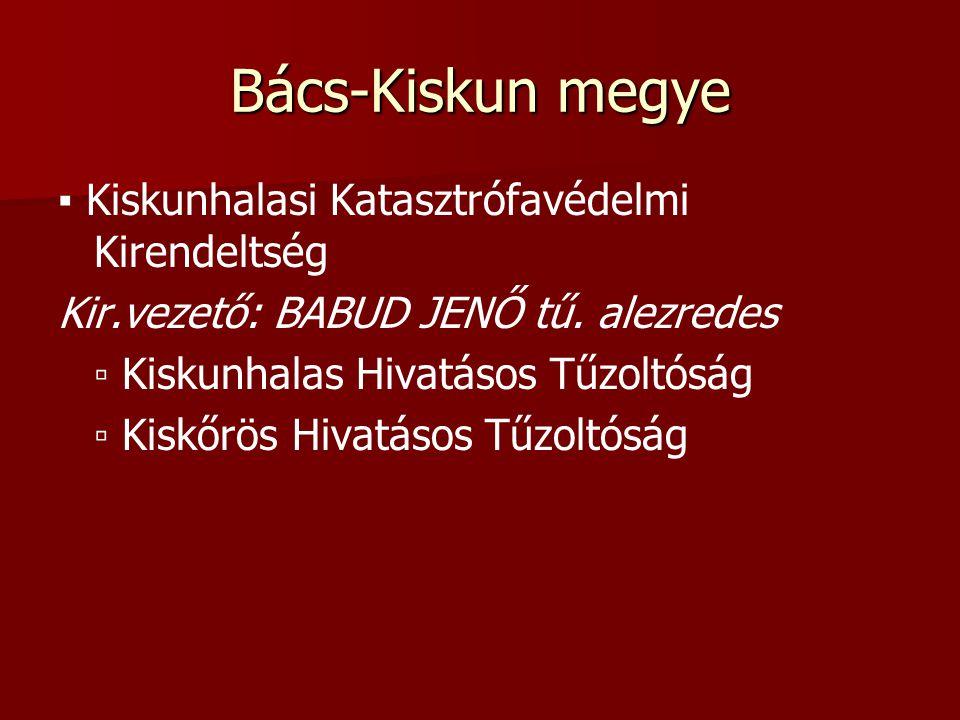 Bács-Kiskun megye ▪ Kiskunhalasi Katasztrófavédelmi Kirendeltség Kir.vezető: BABUD JENŐ tű.
