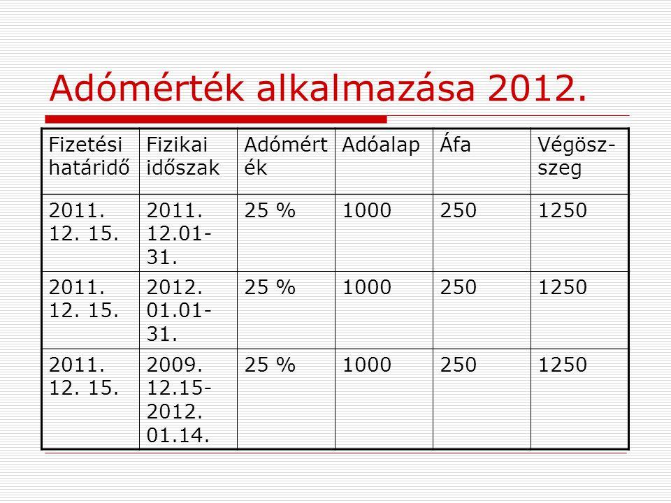 Adómérték alkalmazása 2012. Fizetési határidő Fizikai időszak Adómért ék AdóalapÁfaVégösz- szeg 2011. 12. 15. 2011. 12.01- 31. 25 %10002501250 2011. 1