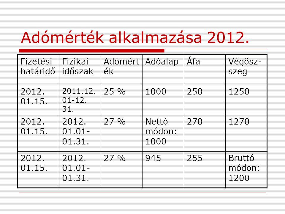 Adómérték alkalmazása 2012. Fizetési határidő Fizikai időszak Adómért ék AdóalapÁfaVégösz- szeg 2012. 01.15. 2011.12. 01-12. 31. 25 %10002501250 2012.