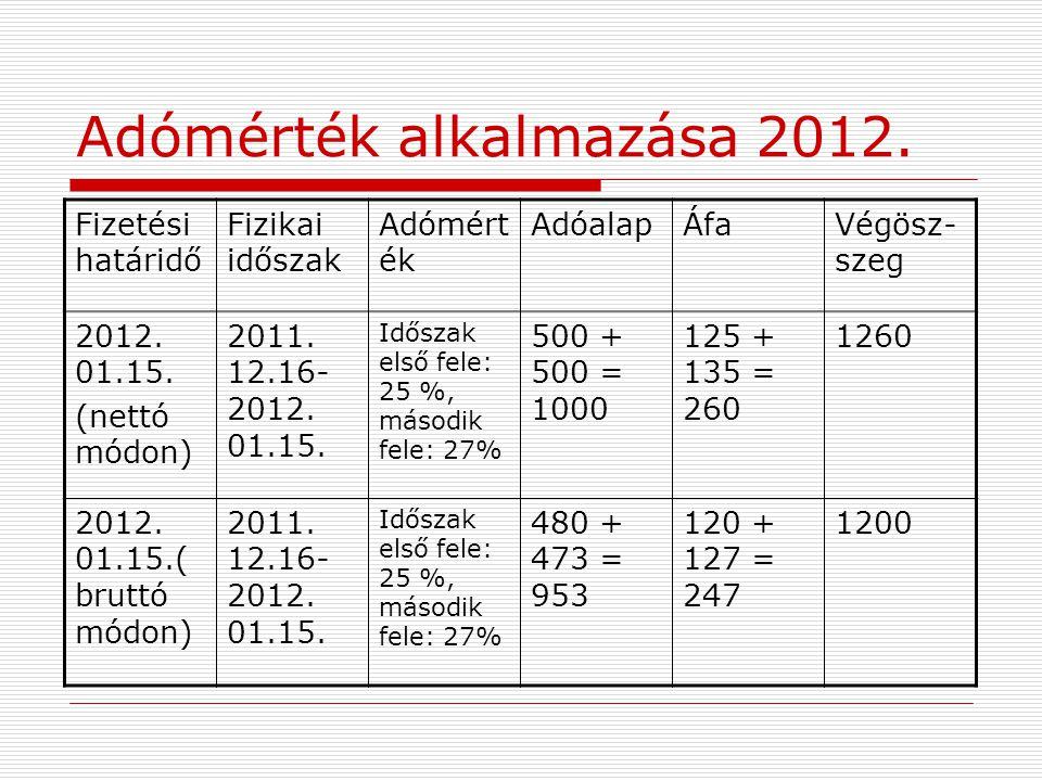 Adómérték alkalmazása 2012. Fizetési határidő Fizikai időszak Adómért ék AdóalapÁfaVégösz- szeg 2012. 01.15. (nettó módon) 2011. 12.16- 2012. 01.15. I