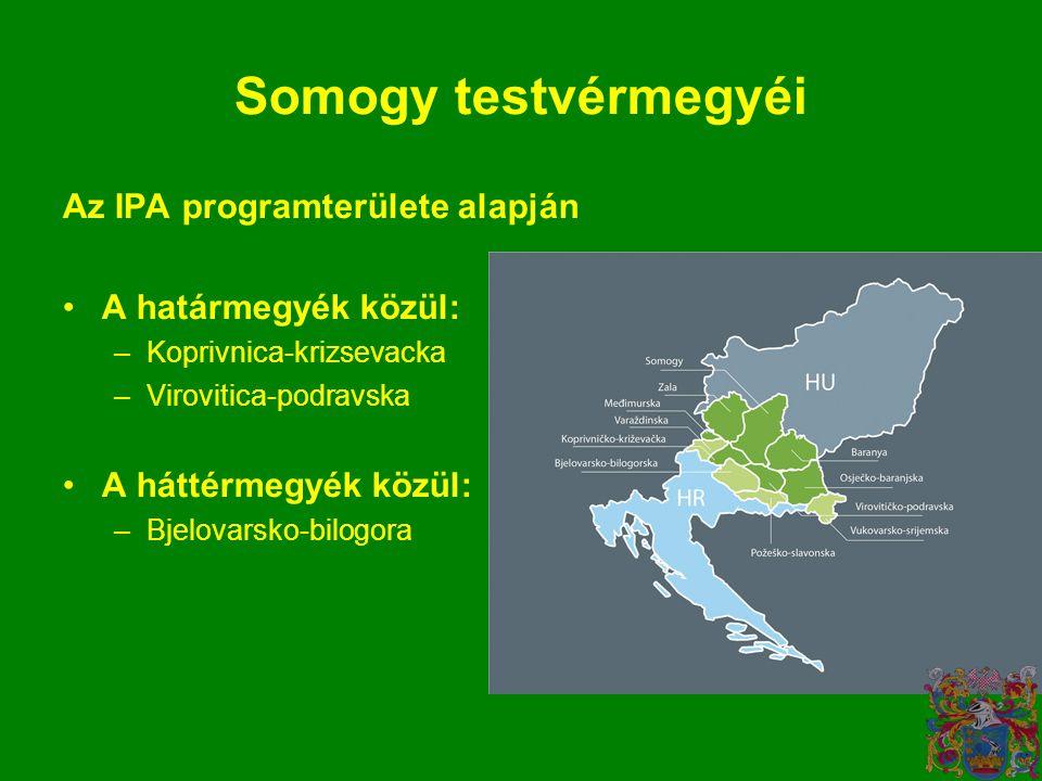 Somogy testvérmegyéi Az IPA programterülete alapján •A határmegyék közül: –Koprivnica-krizsevacka –Virovitica-podravska •A háttérmegyék közül: –Bjelovarsko-bilogora