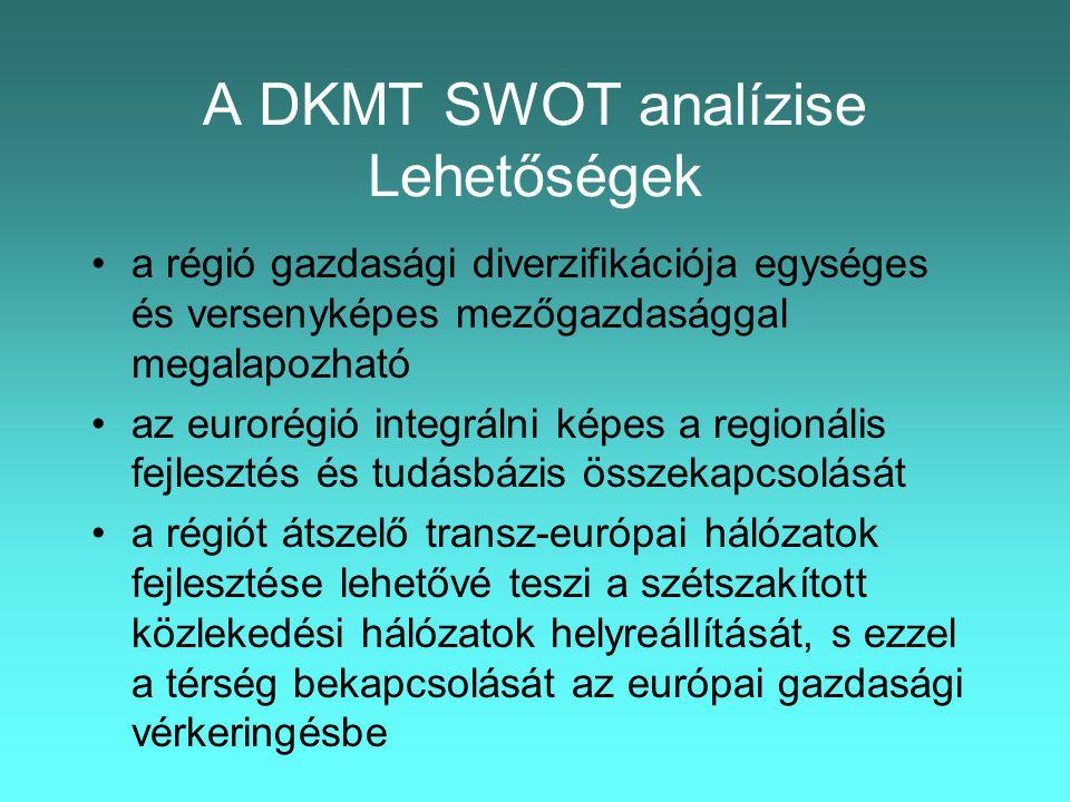 A DKMT SWOT analízise Lehetőségek •a régió gazdasági diverzifikációja egységes és versenyképes mezőgazdasággal megalapozható •az eurorégió integrálni képes a regionális fejlesztés és tudásbázis összekapcsolását •a régiót átszelő transz-európai hálózatok fejlesztése lehetővé teszi a szétszakított közlekedési hálózatok helyreállítását, s ezzel a térség bekapcsolását az európai gazdasági vérkeringésbe