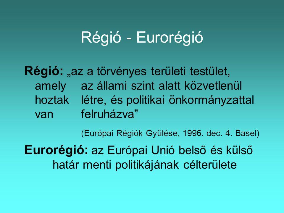 """Régió - Eurorégió Régió: """" az a törvényes területi testület, amely az állami szint alatt közvetlenül hoztak létre, és politikai önkormányzattal van felruházva (Európai Régiók Gyűlése, 1996."""