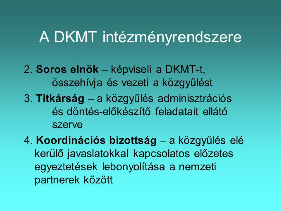 A DKMT intézményrendszere 2. Soros elnök – képviseli a DKMT-t, összehívja és vezeti a közgyűlést 3.