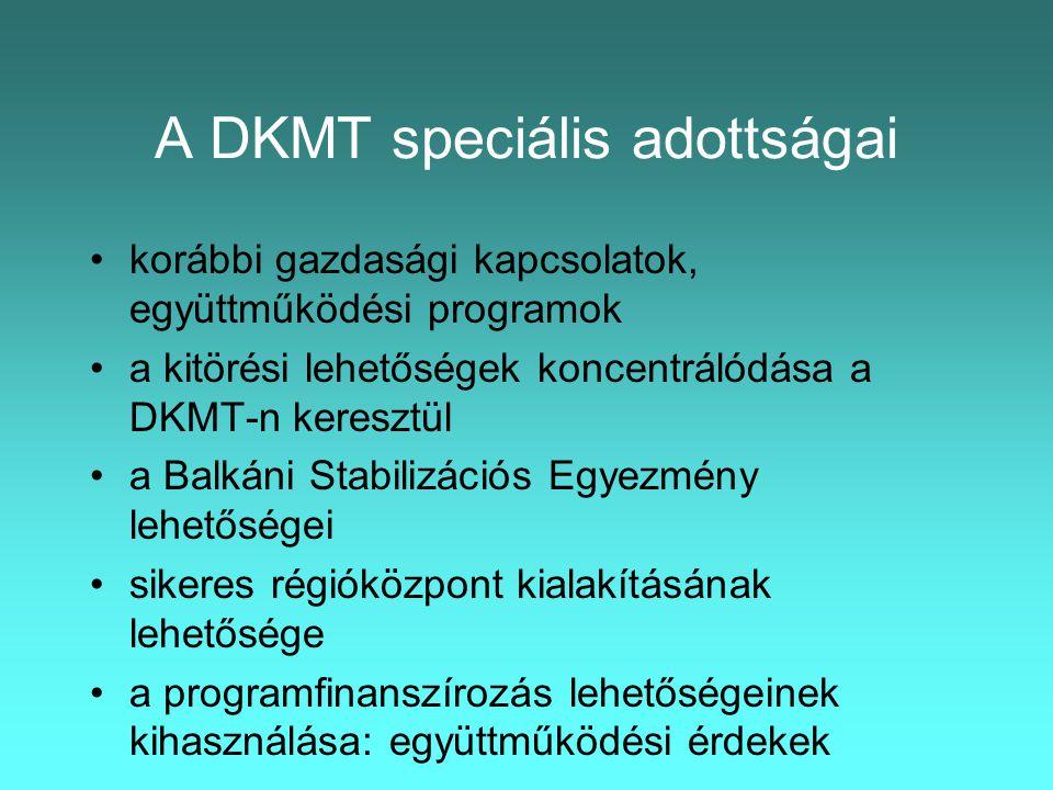 A DKMT sajátos célkitűzései •a régió gazdasági, társadalmi, szociális és környezetvédelmi intézményi fejlesztésével foglalkozó EU-kompatibilis szerveződés létrehozása •a régió forrásszerző képességének növelése •a dinamikusan fejlődő térségi pozíciók megszerzése •A régió lakosságának sokoldalú kapcsolatrendszerén alapuló stabil életminőség elérése