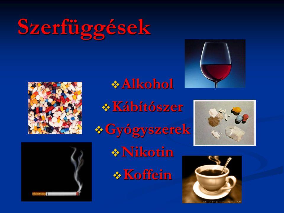 Szerfüggések  Alkohol  Kábítószer  Gyógyszerek  Nikotin  Koffein