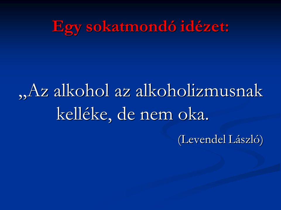 """Egy sokatmondó idézet: """"Az alkohol az alkoholizmusnak kelléke, de nem oka. (Levendel László)"""