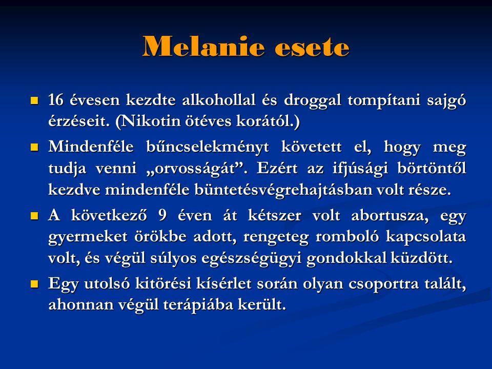 Melanie esete  16 évesen kezdte alkohollal és droggal tompítani sajgó érzéseit.