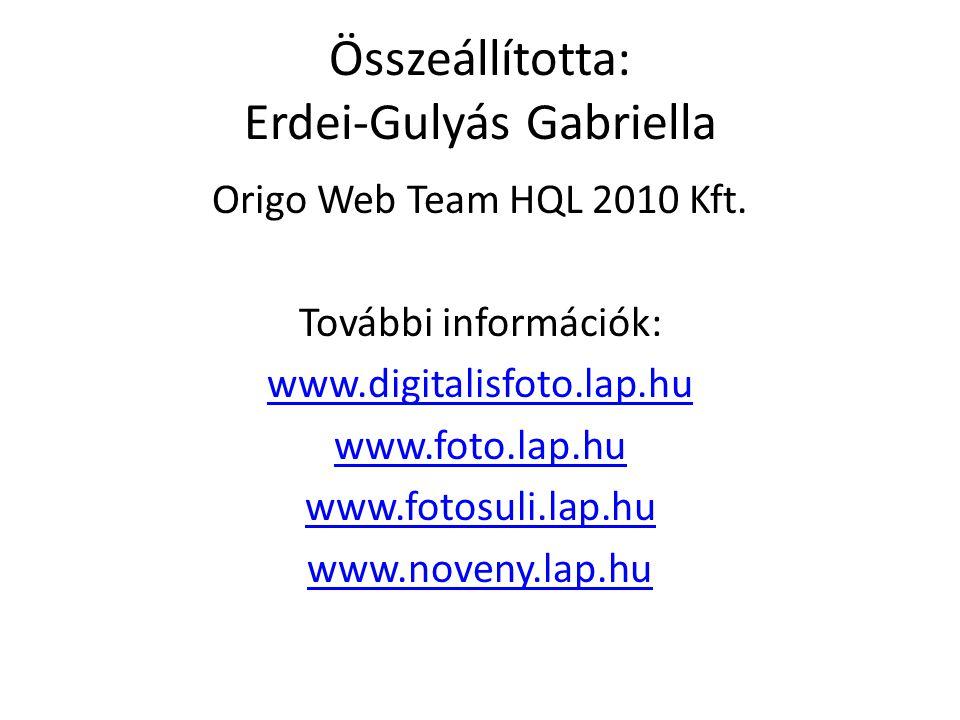 Összeállította: Erdei-Gulyás Gabriella Origo Web Team HQL 2010 Kft. További információk: www.digitalisfoto.lap.hu www.foto.lap.hu www.fotosuli.lap.hu