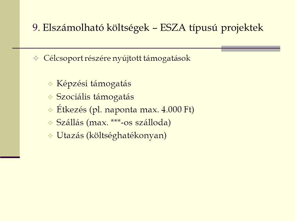 9. Elszámolható költségek – ESZA típusú projektek  Célcsoport részére nyújtott támogatások  Képzési támogatás  Szociális támogatás  Étkezés (pl. n