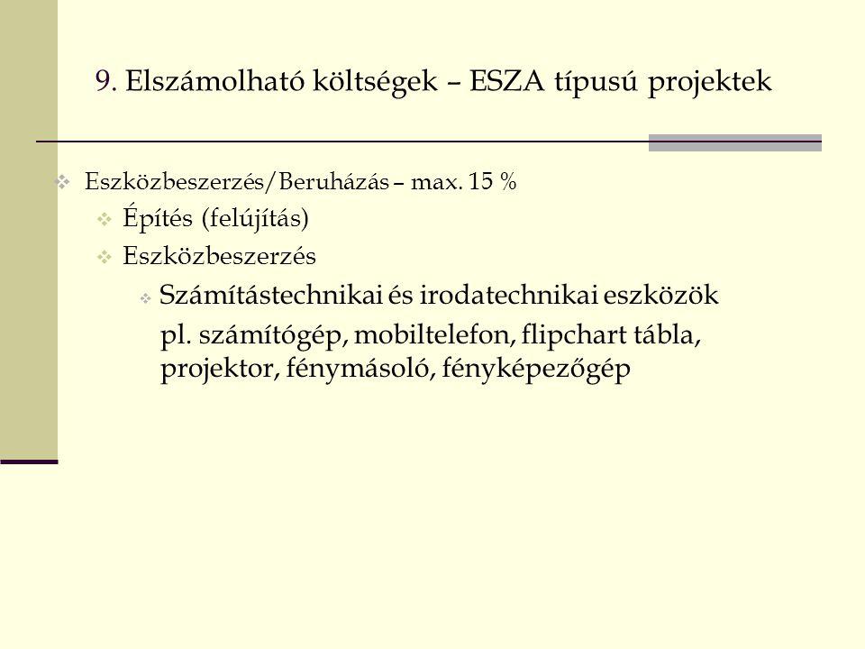 9. Elszámolható költségek – ESZA típusú projektek  Eszközbeszerzés/Beruházás – max. 15 %  Építés (felújítás)  Eszközbeszerzés  Számítástechnikai é
