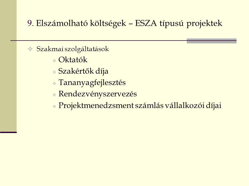 9. Elszámolható költségek – ESZA típusú projektek  Szakmai szolgáltatások  Oktatók  Szakértők díja  Tananyagfejlesztés  Rendezvényszervezés  Pro