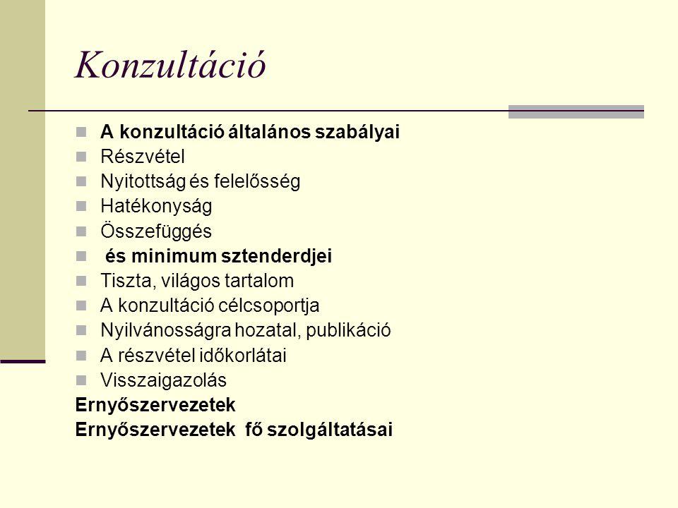 Konzultáció  A konzultáció általános szabályai  Részvétel  Nyitottság és felelősség  Hatékonyság  Összefüggés  és minimum sztenderdjei  Tiszta, világos tartalom  A konzultáció célcsoportja  Nyilvánosságra hozatal, publikáció  A részvétel időkorlátai  Visszaigazolás Ernyőszervezetek Ernyőszervezetek fő szolgáltatásai