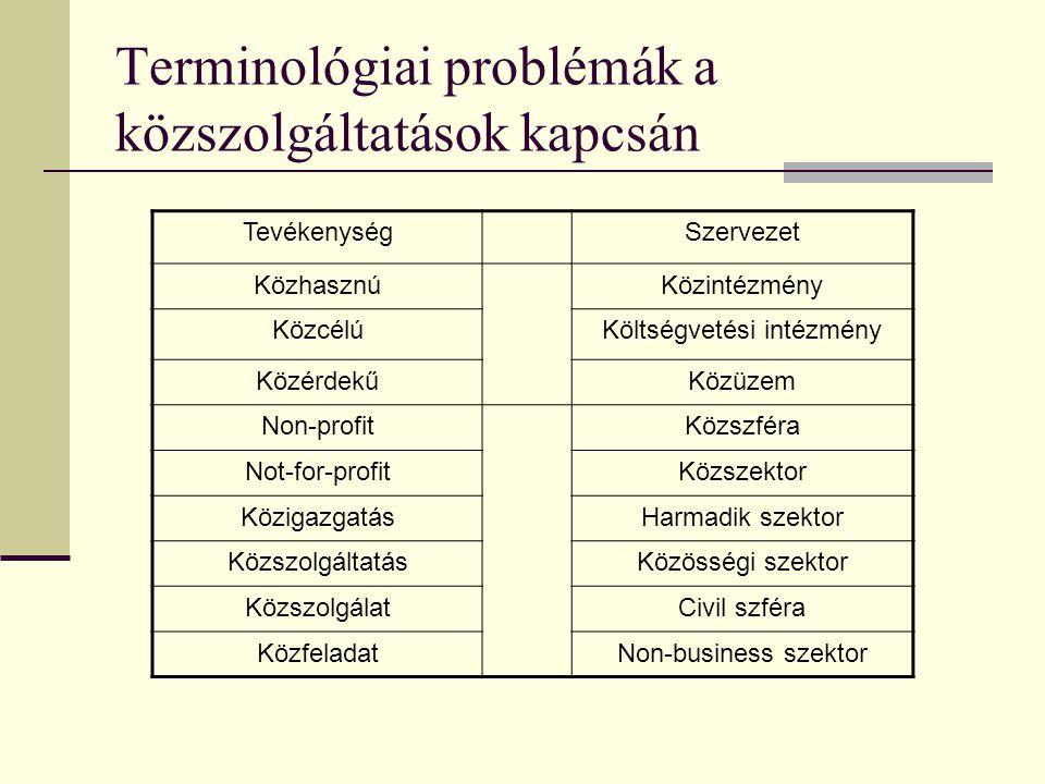 Terminológiai problémák a közszolgáltatások kapcsán TevékenységSzervezet KözhasznúKözintézmény KözcélúKöltségvetési intézmény KözérdekűKözüzem Non-pro
