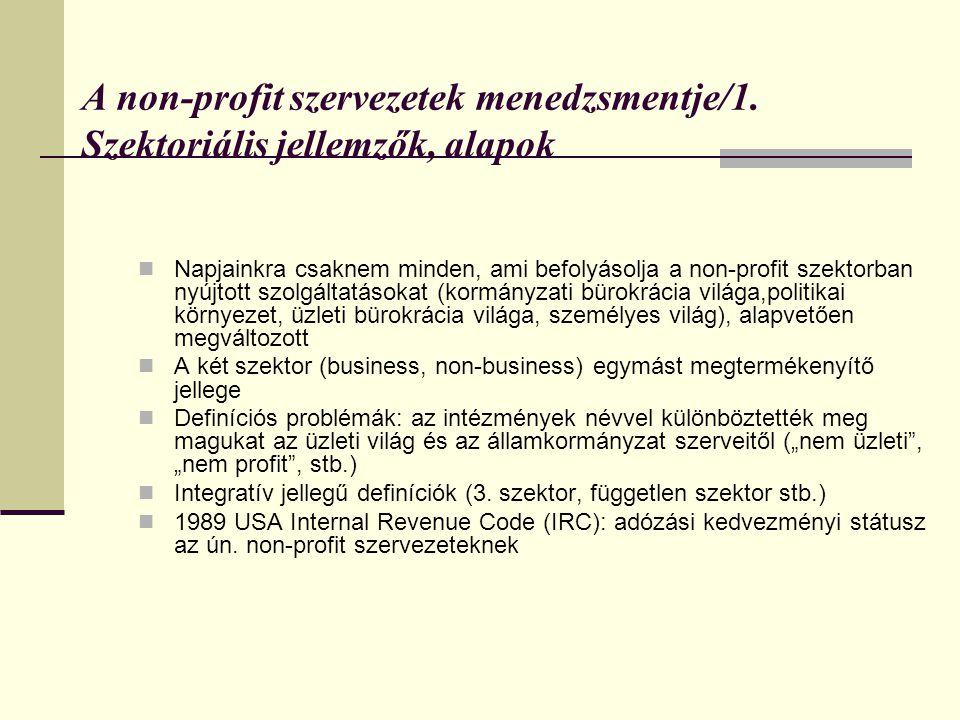 A non-profit szervezetek menedzsmentje/1. Szektoriális jellemzők, alapok  Napjainkra csaknem minden, ami befolyásolja a non-profit szektorban nyújtot