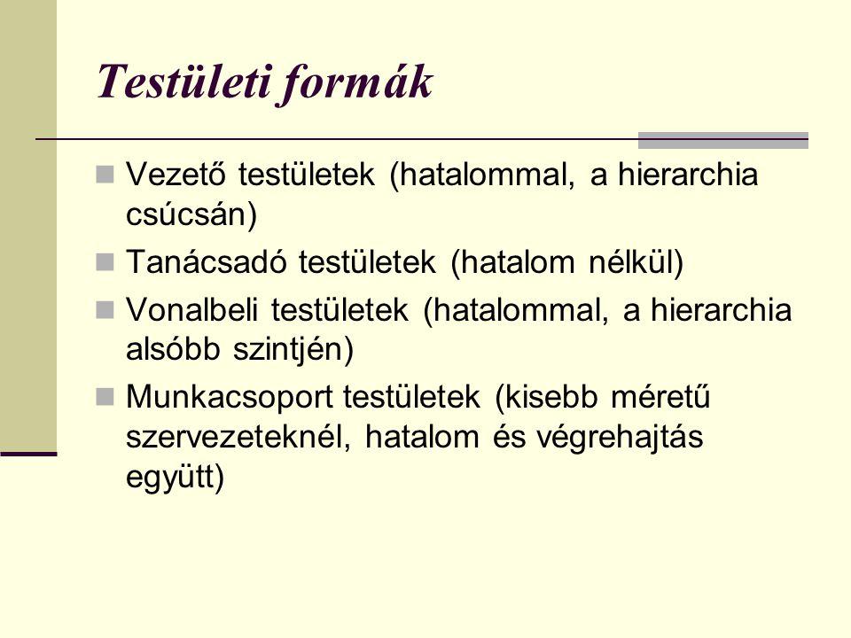 Testületi formák  Vezető testületek (hatalommal, a hierarchia csúcsán)  Tanácsadó testületek (hatalom nélkül)  Vonalbeli testületek (hatalommal, a