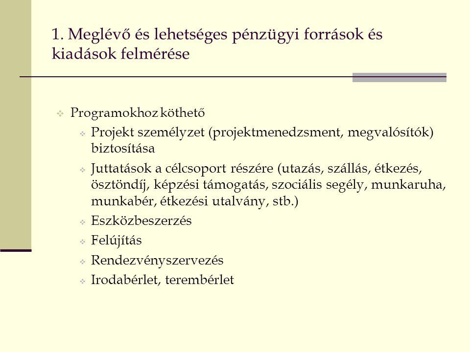 1. Meglévő és lehetséges pénzügyi források és kiadások felmérése  Programokhoz köthető  Projekt személyzet (projektmenedzsment, megvalósítók) biztos