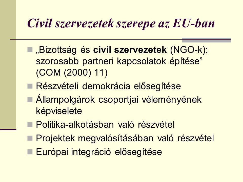 """Civil szervezetek szerepe az EU-ban  """"Bizottság és civil szervezetek (NGO-k): szorosabb partneri kapcsolatok építése (COM (2000) 11)  Részvételi demokrácia elősegítése  Állampolgárok csoportjai véleményének képviselete  Politika-alkotásban való részvétel  Projektek megvalósításában való részvétel  Európai integráció elősegítése"""