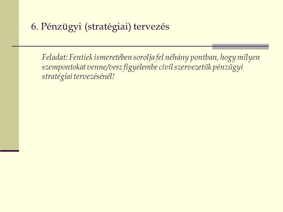 6. Pénzügyi (stratégiai) tervezés Feladat: Fentiek ismeretében sorolja fel néhány pontban, hogy milyen szempontokat venne/vesz figyelembe civil szerve
