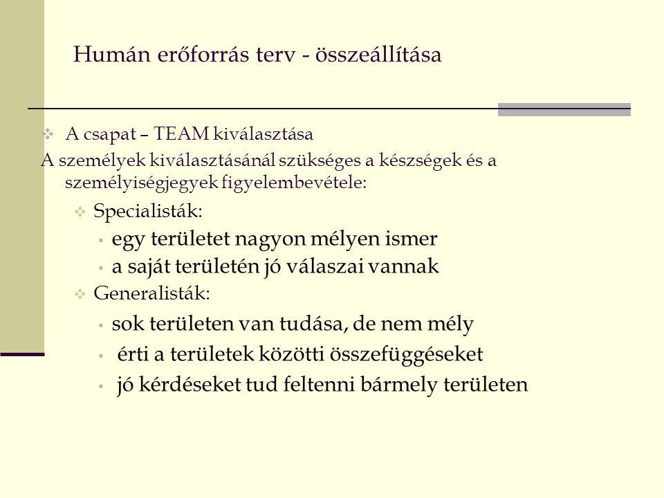 Humán erőforrás terv - összeállítása  A csapat – TEAM kiválasztása A személyek kiválasztásánál szükséges a készségek és a személyiségjegyek figyelembevétele:  Specialisták:  egy területet nagyon mélyen ismer  a saját területén jó válaszai vannak  Generalisták:  sok területen van tudása, de nem mély  érti a területek közötti összefüggéseket  jó kérdéseket tud feltenni bármely területen