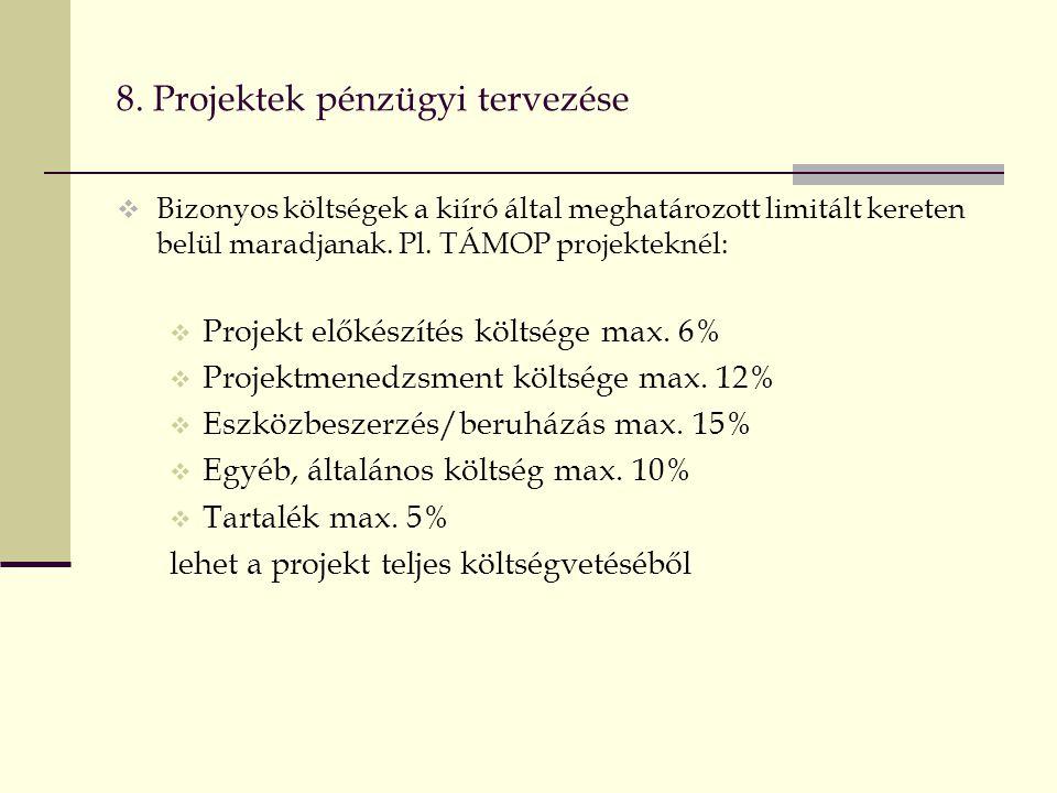 8. Projektek pénzügyi tervezése  Bizonyos költségek a kiíró által meghatározott limitált kereten belül maradjanak. Pl. TÁMOP projekteknél:  Projekt
