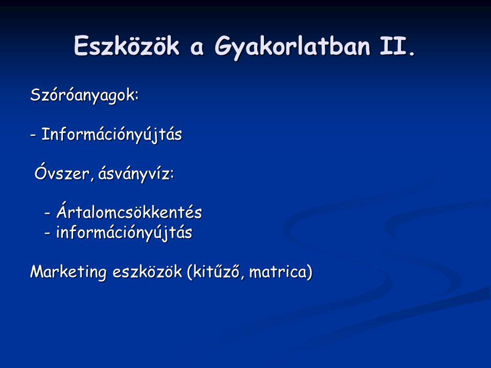 Eszközök a Gyakorlatban II. Szóróanyagok: - Információnyújtás Óvszer, ásványvíz: Óvszer, ásványvíz: - Ártalomcsökkentés - Ártalomcsökkentés - informác