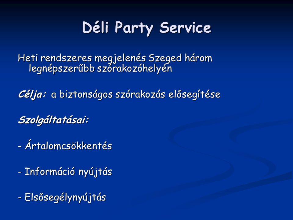 Déli Party Service Heti rendszeres megjelenés Szeged három legnépszerűbb szórakozóhelyén Célja: a biztonságos szórakozás elősegítése Szolgáltatásai: -