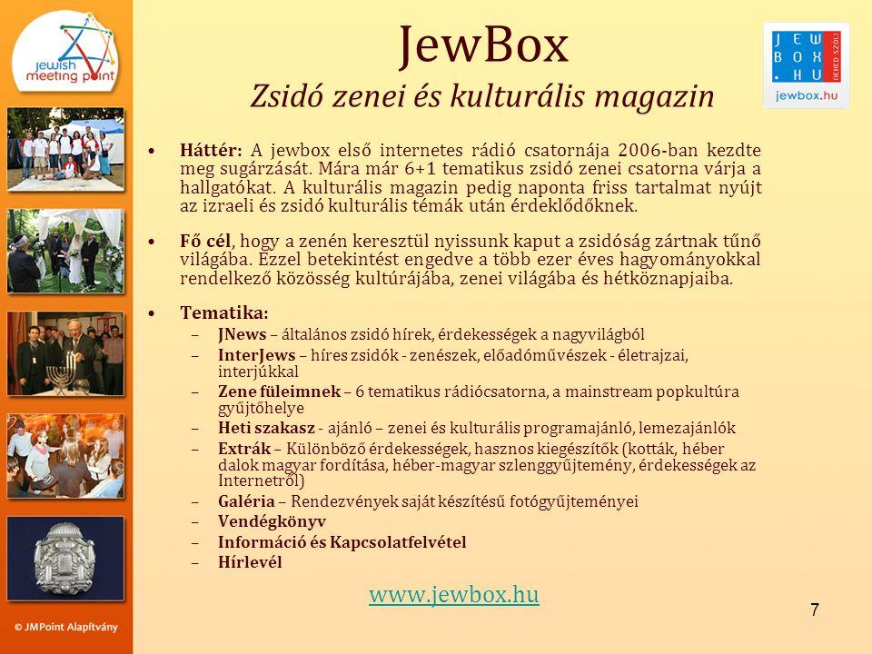 7 •Háttér: A jewbox első internetes rádió csatornája 2006-ban kezdte meg sugárzását.