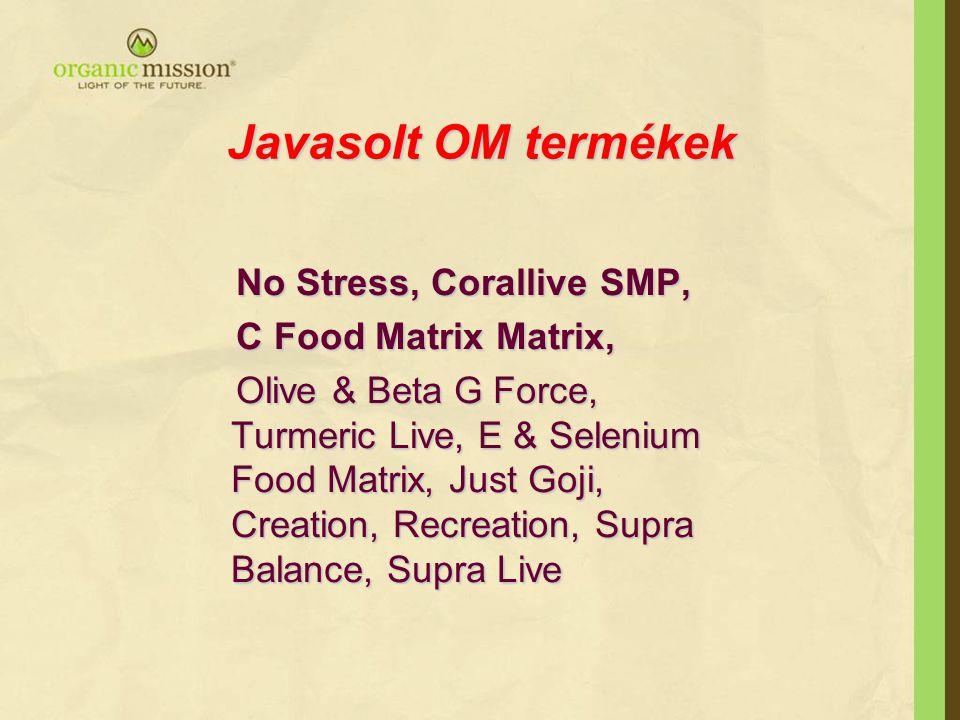Javasolt OM termékek No Stress, Corallive SMP, No Stress, Corallive SMP, C Food Matrix Matrix, C Food Matrix Matrix, Olive & Beta G Force, Turmeric Li