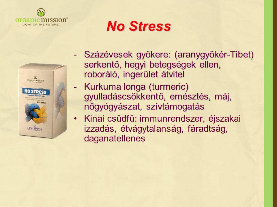 No Stress -Százévesek gyökere: (aranygyökér-Tibet) serkentő, hegyi betegségek ellen, roboráló, ingerület átvitel -Kurkuma longa (turmeric) gyulladáscs