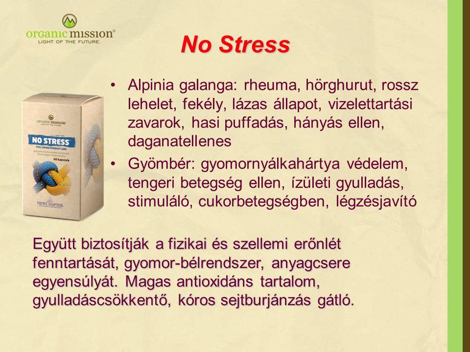 No Stress •Alpinia galanga: rheuma, hörghurut, rossz lehelet, fekély, lázas állapot, vizelettartási zavarok, hasi puffadás, hányás ellen, daganatellen