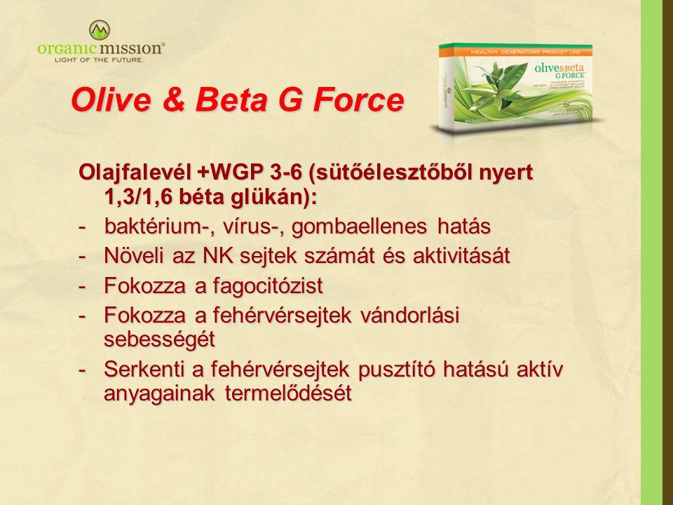 Olive & Beta G Force Olajfalevél +WGP 3-6 (sütőélesztőből nyert 1,3/1,6 béta glükán): - baktérium-, vírus-, gombaellenes hatás -Növeli az NK sejtek sz