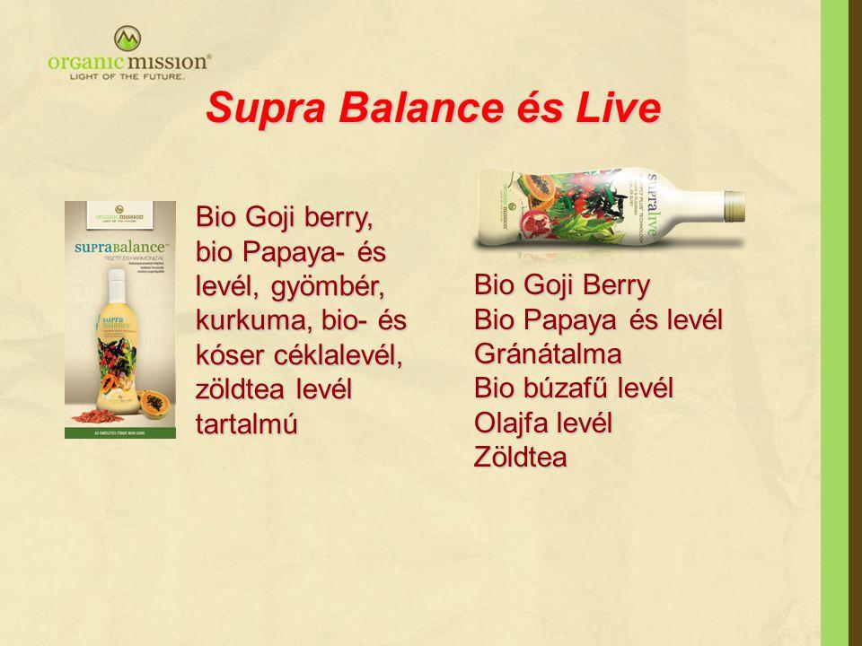 Supra Balance és Live Bio Goji Berry Bio Papaya és levél Gránátalma Bio búzafű levél Olajfa levél Zöldtea Bio Goji berry, bio Papaya- és levél, gyömbé