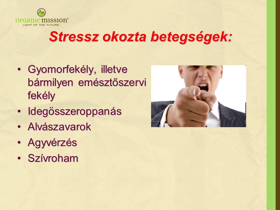 Stressz okozta betegségek: •Gyomorfekély, illetve bármilyen emésztőszervi fekély •Idegösszeroppanás •Alvászavarok •Agyvérzés •Szívroham