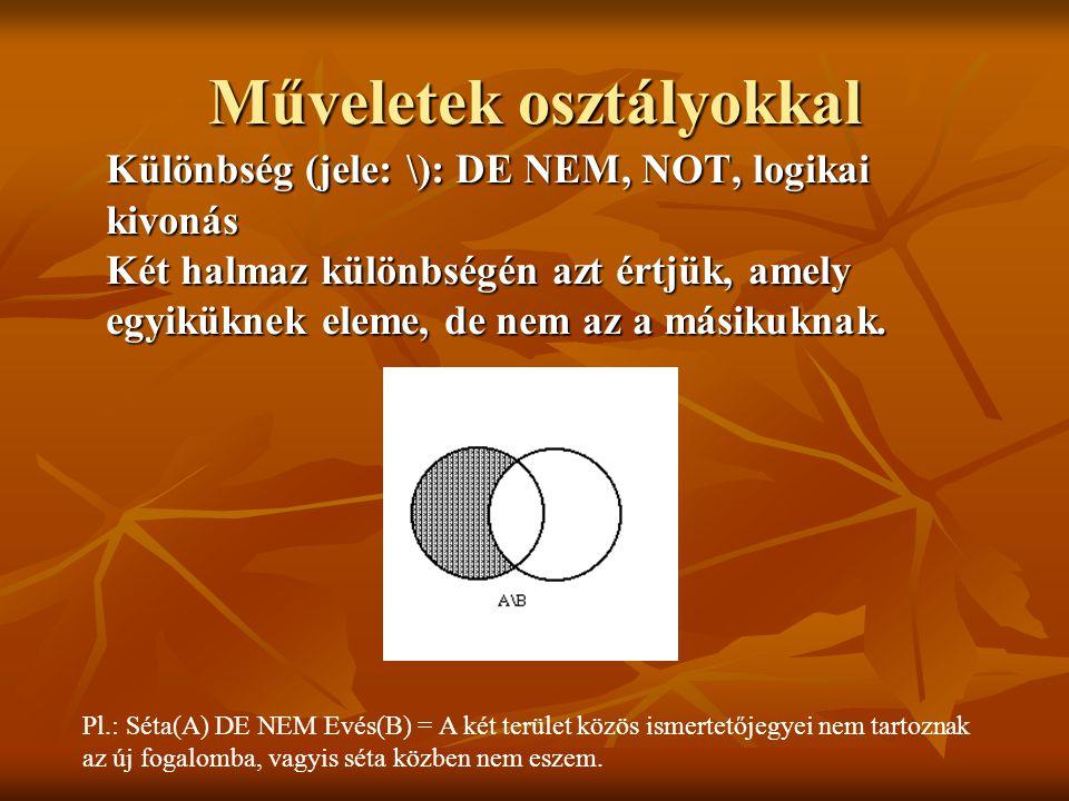 Különbség (jele: \): DE NEM, NOT, logikai kivonás Két halmaz különbségén azt értjük, amely egyiküknek eleme, de nem az a másikuknak. Pl.: Séta(A) DE N