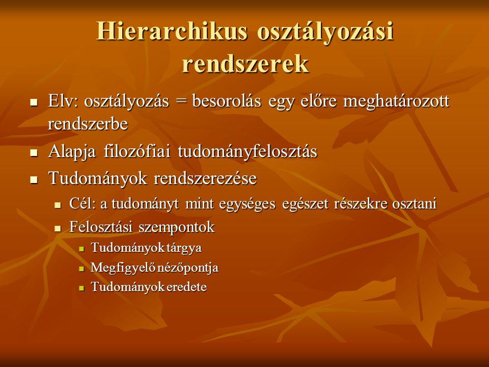 Hierarchikus osztályozási rendszerek  Elv: osztályozás = besorolás egy előre meghatározott rendszerbe  Alapja filozófiai tudományfelosztás  Tudomán