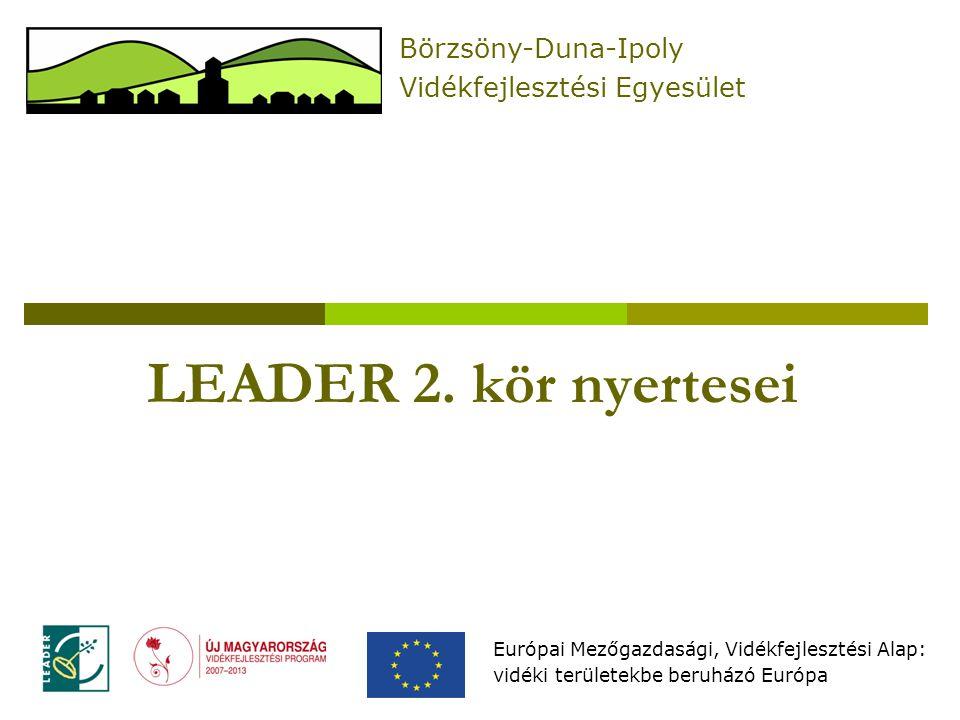 LEADER 2. kör nyertesei Európai Mezőgazdasági, Vidékfejlesztési Alap: vidéki területekbe beruházó Európa Börzsöny-Duna-Ipoly Vidékfejlesztési Egyesüle