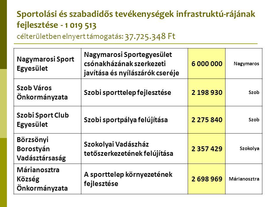 Nagymarosi Sport Egyesület Nagymarosi Sportegyesület csónakházának szerkezeti javítása és nyílászárók cseréje 6 000 000 Nagymaros Szob Város Önkormány