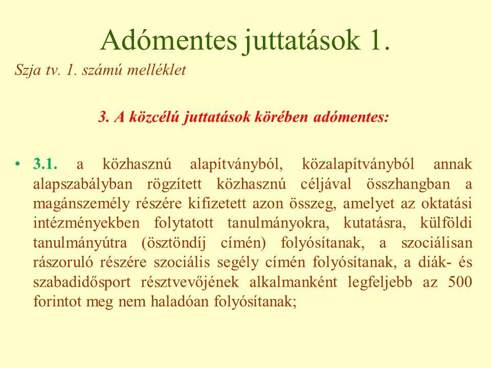 Adómentes juttatások 1.Szja tv. 1. számú melléklet 3.