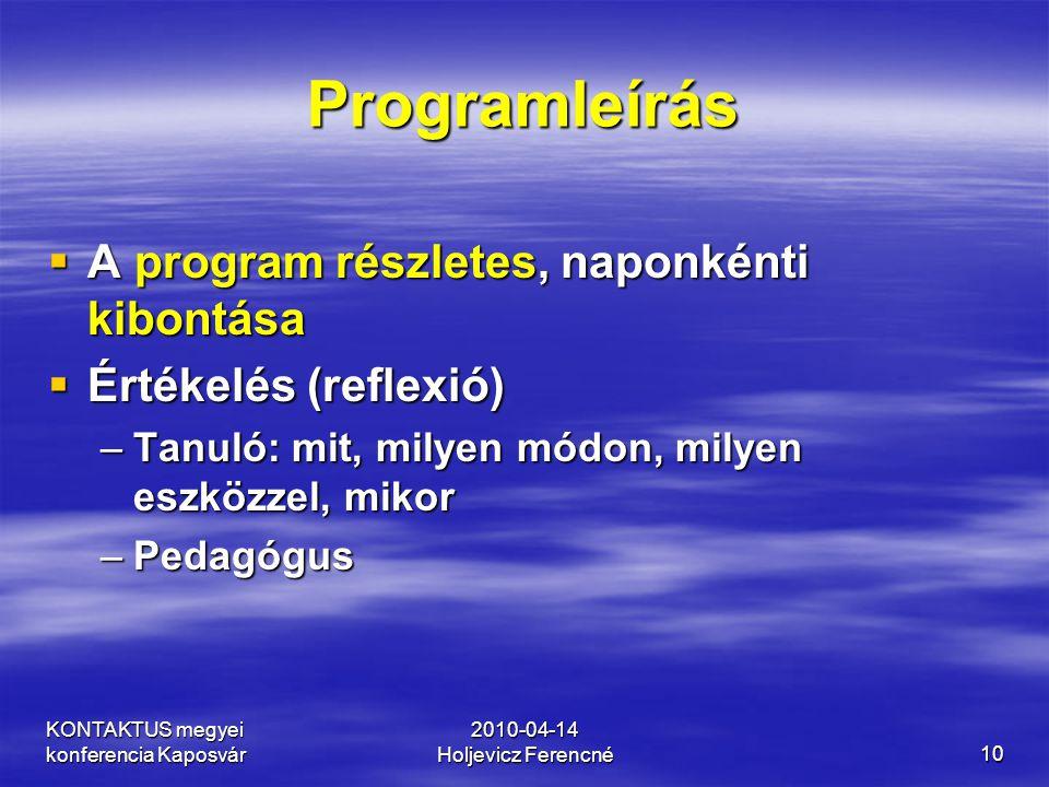 KONTAKTUS megyei konferencia Kaposvár 2010-04-14 Holjevicz Ferencné10 Programleírás  A program részletes, naponkénti kibontása  Értékelés (reflexió)