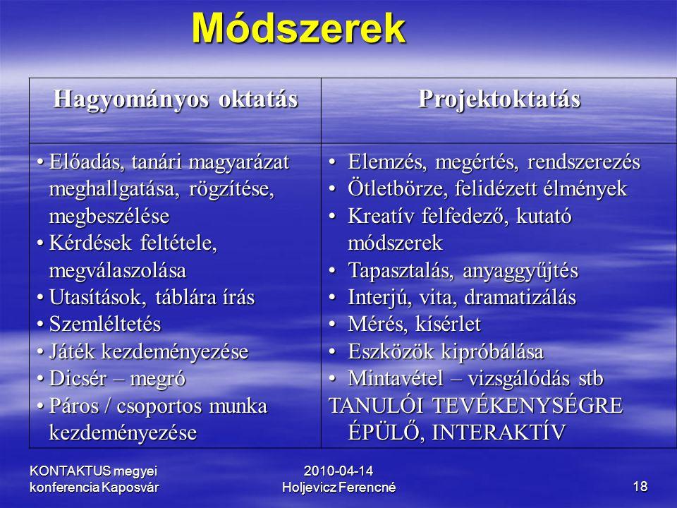 KONTAKTUS megyei konferencia Kaposvár 2010-04-14 Holjevicz Ferencné18 Hagyományos oktatás Projektoktatás •Előadás, tanári magyarázat meghallgatása, rö
