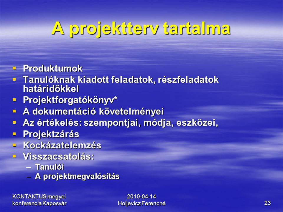 KONTAKTUS megyei konferencia Kaposvár 2010-04-14 Holjevicz Ferencné23 A projektterv tartalma  Produktumok  Tanulóknak kiadott feladatok, részfeladat