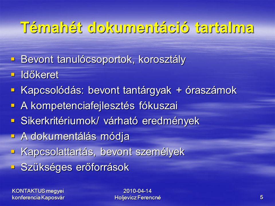 KONTAKTUS megyei konferencia Kaposvár 2010-04-14 Holjevicz Ferencné5 Témahét dokumentáció tartalma  Bevont tanulócsoportok, korosztály  Időkeret  K