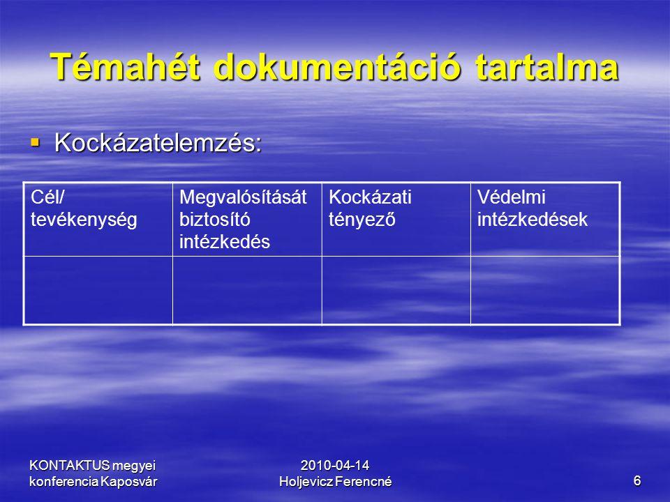 KONTAKTUS megyei konferencia Kaposvár 2010-04-14 Holjevicz Ferencné6 Témahét dokumentáció tartalma  Kockázatelemzés: Cél/ tevékenység Megvalósítását
