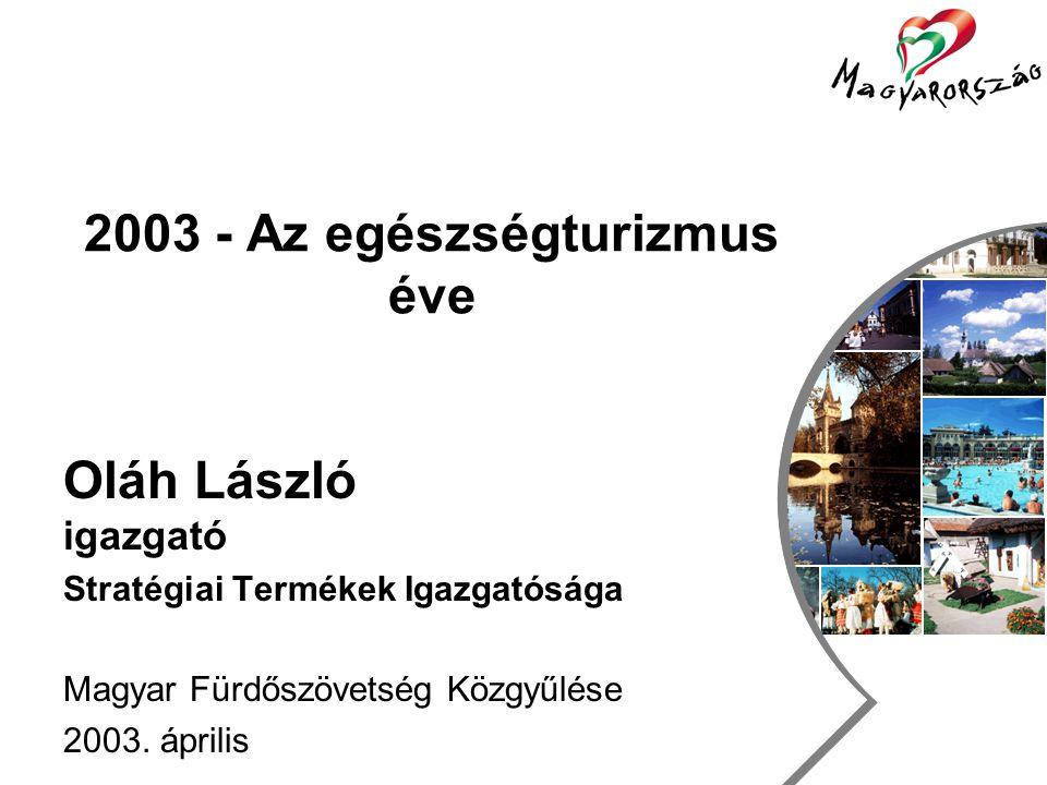 Utazás, szabadidő és turizmus csoport 2003 - Az egészségturizmus éve Oláh László igazgató Stratégiai Termékek Igazgatósága Magyar Fürdőszövetség Közgyűlése 2003.
