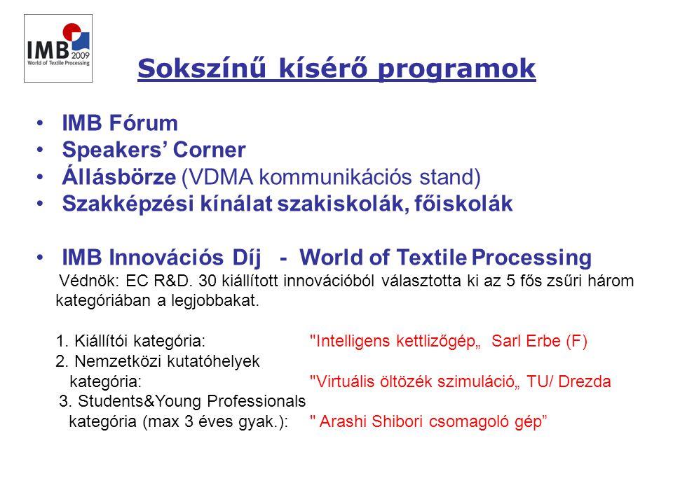 • IMB Fórum • Speakers' Corner • Állásbörze (VDMA kommunikációs stand) • Szakképzési kínálat szakiskolák, főiskolák • IMB Innovációs Díj - World of Textile Processing Védnök: EC R&D.
