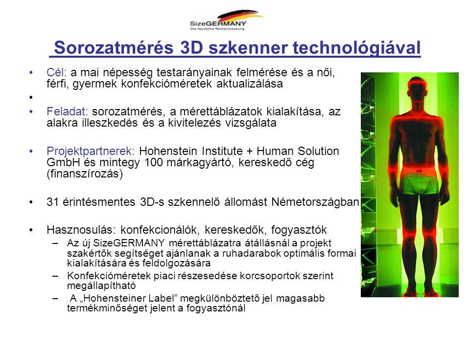 """Sorozatmérés 3D szkenner technológiával •Cél: a mai népesség testarányainak felmérése és a női, férfi, gyermek konfekcióméretek aktualizálása • •Feladat: sorozatmérés, a mérettáblázatok kialakítása, az alakra illeszkedés és a kivitelezés vizsgálata •Projektpartnerek: Hohenstein Institute + Human Solution GmbH és mintegy 100 márkagyártó, kereskedő cég (finanszírozás) •31 érintésmentes 3D-s szkennelő állomást Németországban •Hasznosulás: konfekcionálók, kereskedők, fogyasztók –Az új SizeGERMANY mérettáblázatra átállásnál a projekt szakértők segítséget ajánlanak a ruhadarabok optimális formai kialakítására és feldolgozására –Konfekcióméretek piaci részesedése korcsoportok szerint megállapítható – A """"Hohensteiner Label megkülönböztető jel magasabb termékminőséget jelent a fogyasztónál"""