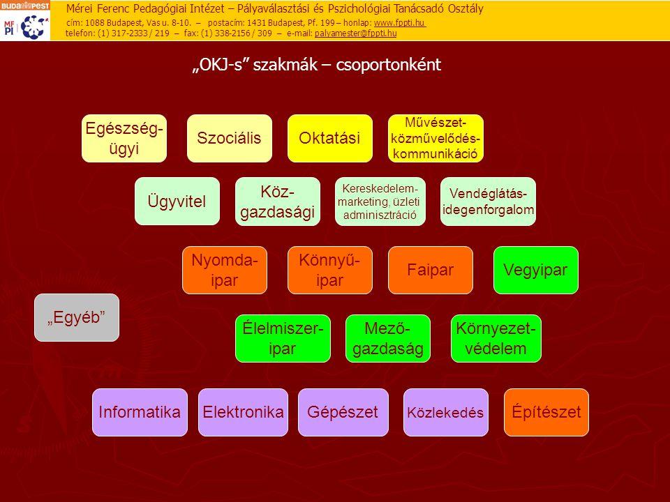 """""""OKJ-s"""" szakmák – csoportonként Egészség- ügyi SzociálisOktatási Művészet- közművelődés- kommunikáció GépészetElektronika Nyomda- ipar Élelmiszer- ipa"""