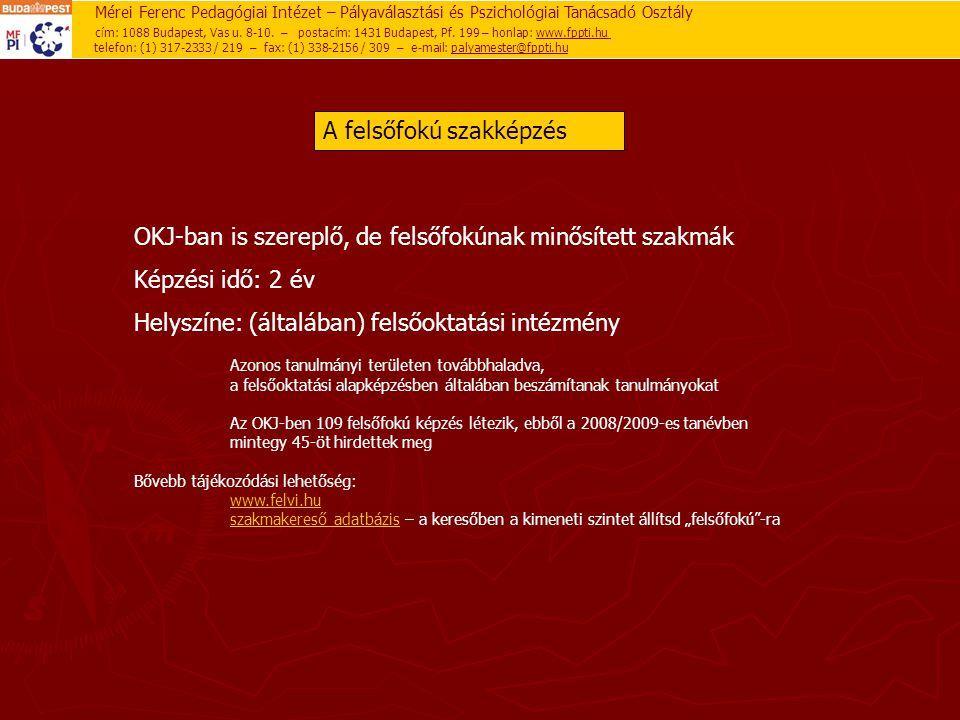 Mérei Ferenc Pedagógiai Intézet – Pályaválasztási és Pszichológiai Tanácsadó Osztály cím: 1088 Budapest, Vas u. 8-10. – postacím: 1431 Budapest, Pf. 1